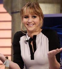 'The Hunger Games' Star Jennifer Lawrence . appears on the 'El Hormiguero' spanish TV Show . Madrid, Spain 19.04.12
