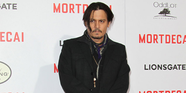 Johnny Depp attended the world premiere of his new movie Mortdecai