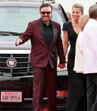 Ricky Gervais and Jane Fallon. The 69th Annual Golden Globe Awards (Golden Globes 2012) held at The Beverly Hilton Hotel - Outside Arrivals. Los Angeles, California - 15.01.12