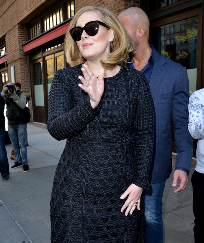 Singer Adele in 2015 outside her NYC hotel. Credit: Famous