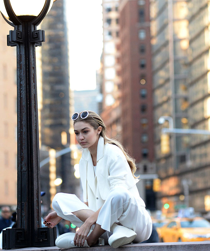 Gigi Hadid at a photoshoot for Maybelline in Manhattan 2016. Credit: Famous