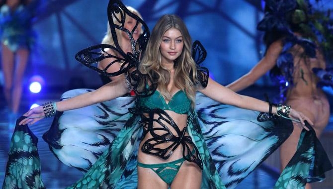 Gigi Hadid at the 2015 Victoria's Secret runway show. Credit: Famous