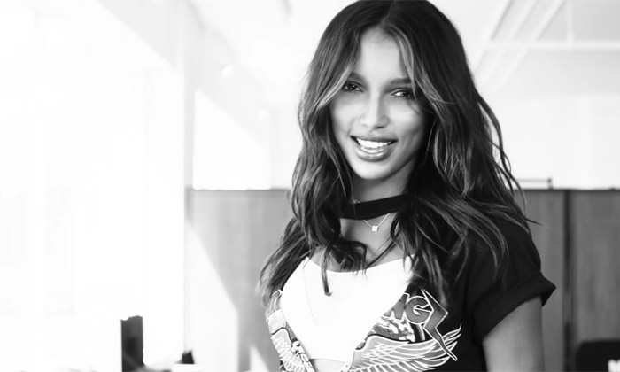 Jasmine Tookes shot in black and white in '2U' video