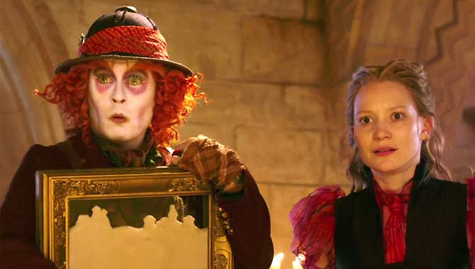 Johnny Depp and Mia Wasikowska in Alice Through The Looking Glass