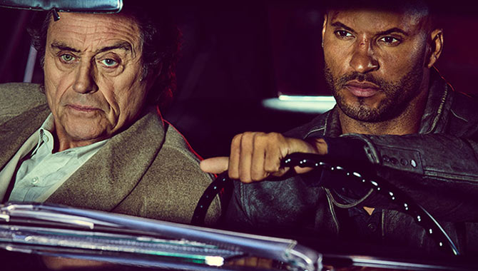 Ricky Whittle and Ian McShane star in 'American Gods' / Cr: Starz