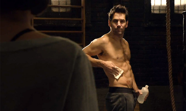 Paul Rudd shows of his six pack in 'Ant-Man'