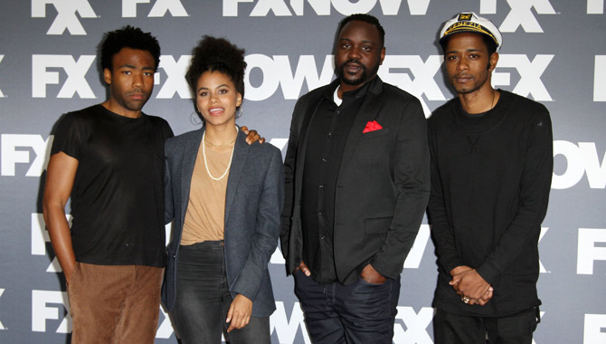 Zazie Beets with the cast of 'Atlanta'
