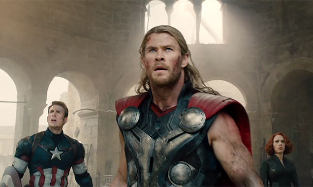 Chris Evans, Chris Hemsworth and Scarlett Johansson in 'The Avengers: Age of Ultron'