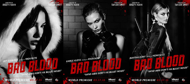 [L-R] Lily Aldridge, Karlie Kloss and Martha Hunt in 'Bad Blood'