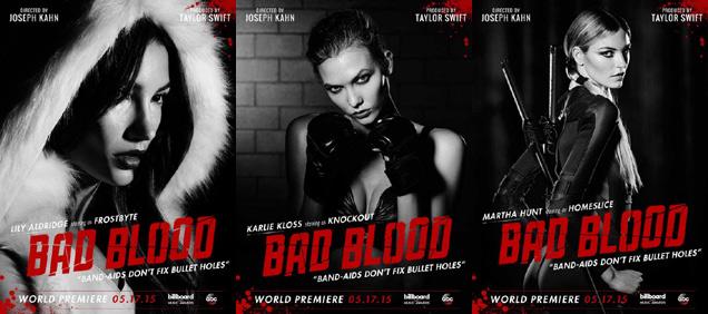[L-R] Lily Aldridge, Karlie Kloss and Martha Hunt in 'Bad Blood'