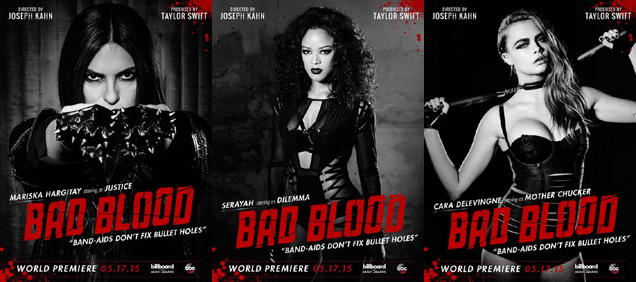 [L-R] Mariska Hargitay, Serayah and Cara Delevingne in 'Bad Blood'