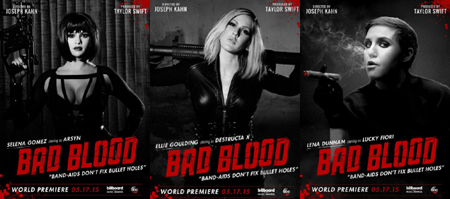 [L-R] Selena Gomez, Ellie Goulding and Lena Dunham in 'Bad Blood'