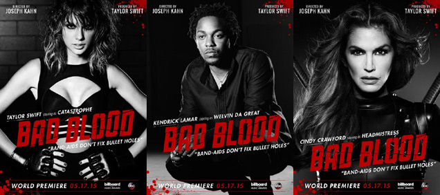 [L-R] Taylor Swift, Kendrick Lamar and Cindy Crawford in 'Bad Blood'