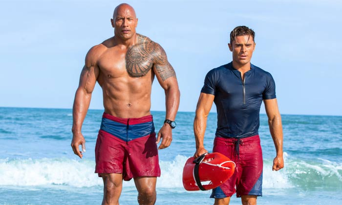 The Rock and Zac on the Baywatch set