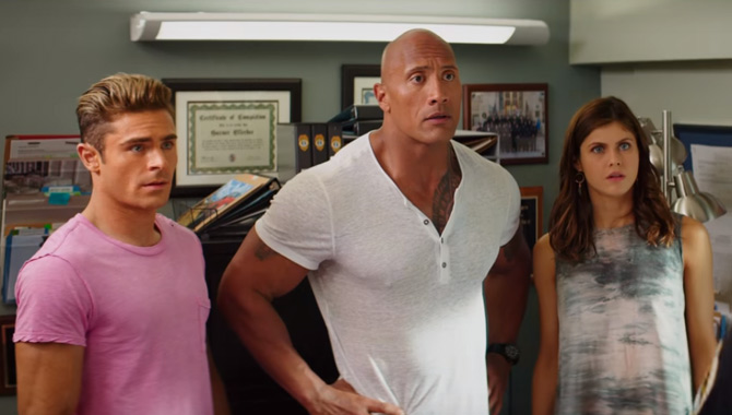 Zac Efron, Dwayne Johnson and Alexandra Daddario