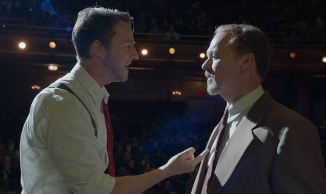 Edward Norton and Michael Keaton inside the theatre