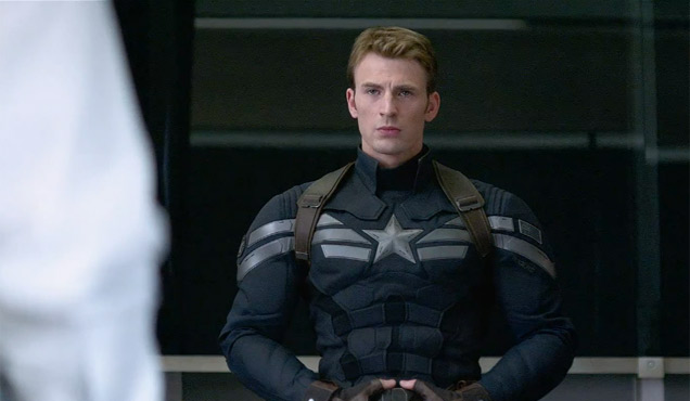 Chris Evans in his Captain America attire.