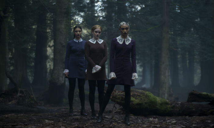 [L-R] Adeline Rudolph, Abigail F. Cowen and Tati Gabrielle as Agatha, Dorcas and Prudence