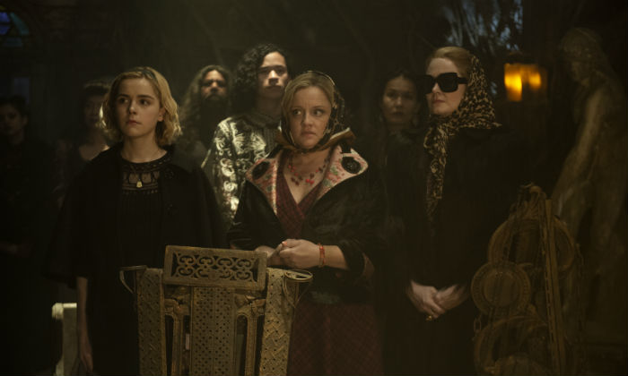 [L-R] Kiernan Shipka, Lucy Davis and Miranda Otto as Sabrina, Hilda and Zelda