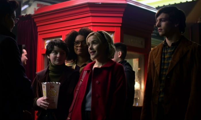 Lachlan Watson, Jaz Sinclair and Ross Lynch are Sabrina's friends Susie, Rosalind and Harvey