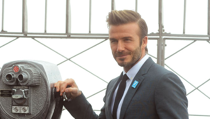 David Beckham celebrating UNICEF's 70th Anniversary at the Empire State Building in 2016