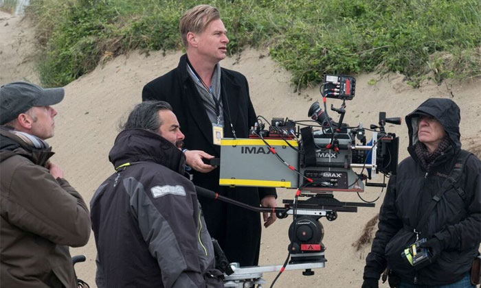 Chris Nolan on the set of Dunkirk