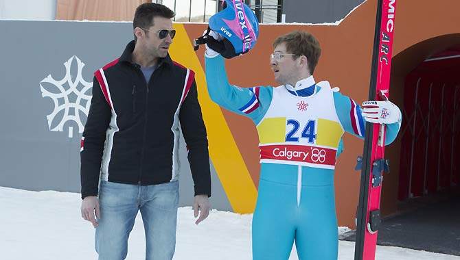 Taron Egerton and Hugh Jackman in 'Eddie The Eagle'