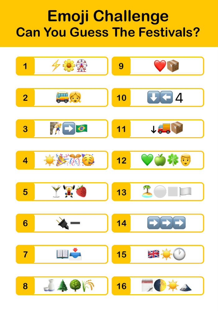 Quiz Corner: Can you guess the festival by the emojis?
