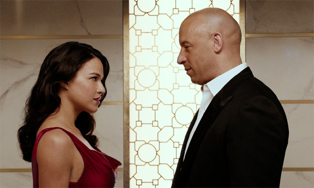 Michelle Rodriguez and Vin Diesel in 'Furious 7'