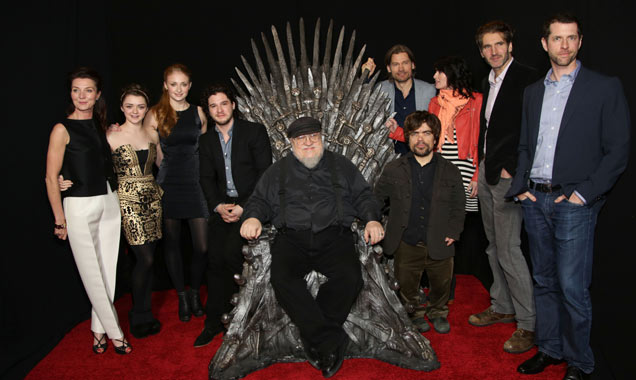 George R.R. Martin at the cast of HBO's Game Of Thrones