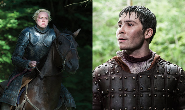 Gwendoline Christie as Brienne of Tarth and Daniel Portman as Podrick Payne