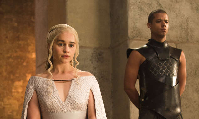 Emilia Clarke as Daenerys Targaryen and Jacob Anderson as Grey Worm