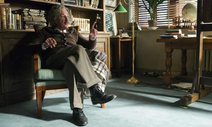 Geoffrey Rush as the older Albert Einstein
