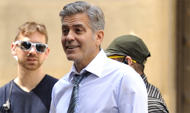 George Clooney, Julia Roberts, Jodie Foster, and Jack O'Connell on the set filming 'Money Monsters' - Saturday 18th April 2015