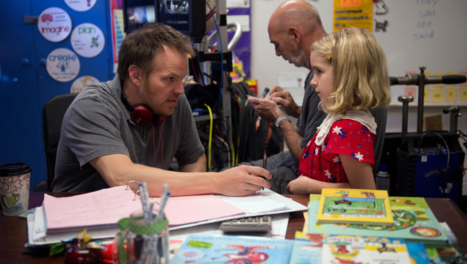 Mckenna Grace and Marc Webb talk on the set of 'Gifted'