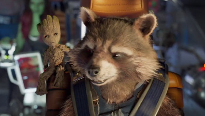 Vin and Bradley play Groot and Rocket respectively