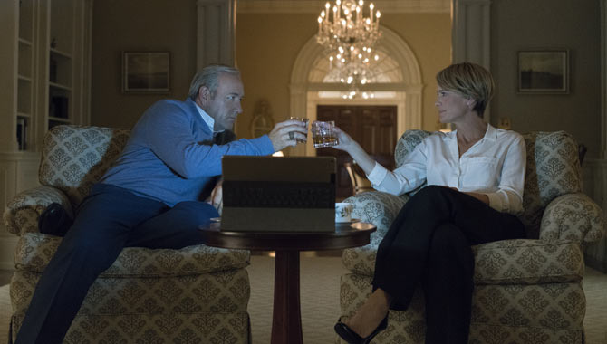 Kevin Spacey and Robin Wright as Frank and Claire Underwood in 'House of Cards'