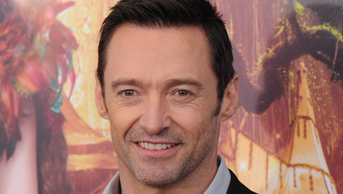 Hugh Jackman is pictured on the red carpet