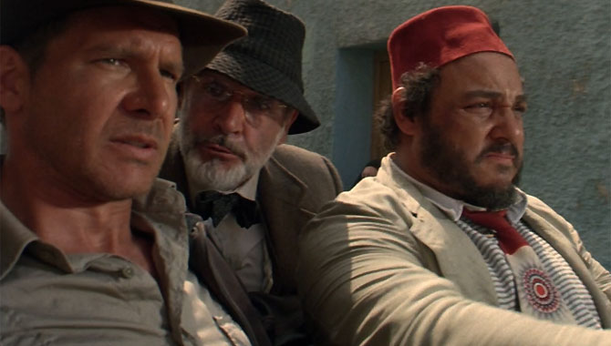 Harrison Ford, Sean Connery and Alexei Sayle in The Last Crusade