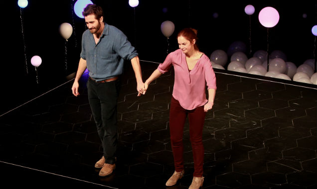 Jake Gyllenhaal and Ruth Wilson hold hands in 'Constellations'