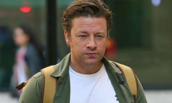 Jamie Oliver outside the BBC Radio 2 studios