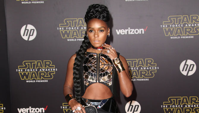 Janelle perfectly dressed for the premiere of Star Wars