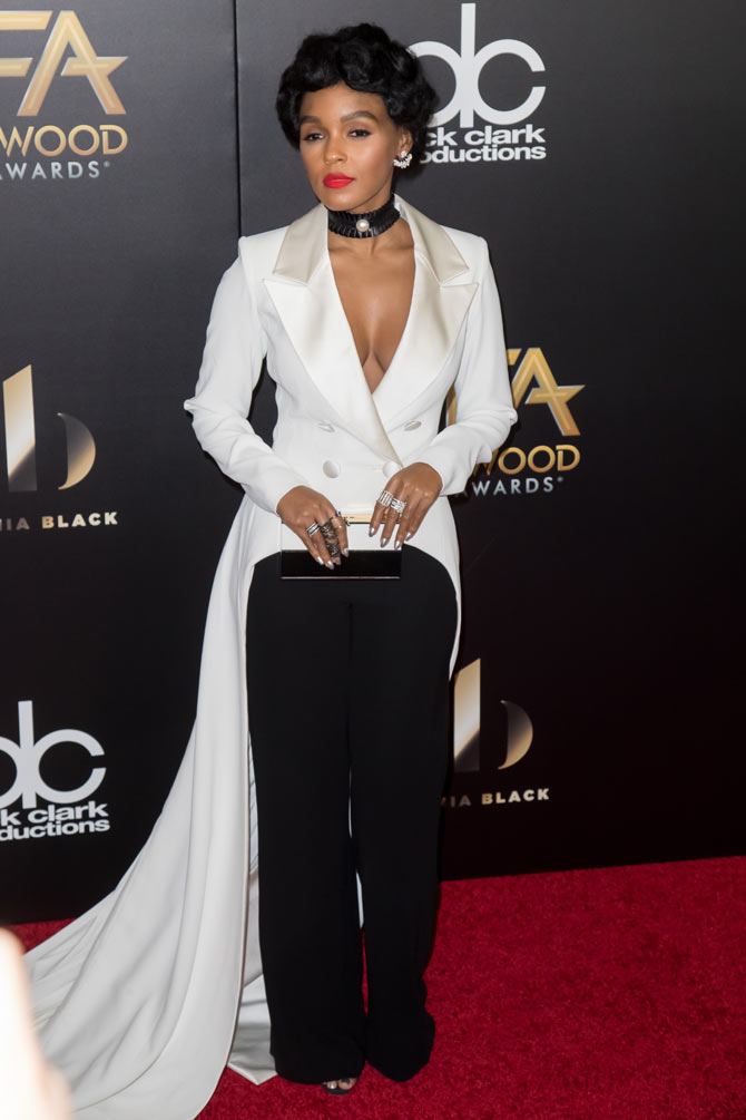 Janelle's consistently stunning whether in a pantsuit or evening gown