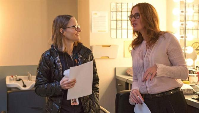 Jodie Foster on the set of Money Monster with Julia Roberts