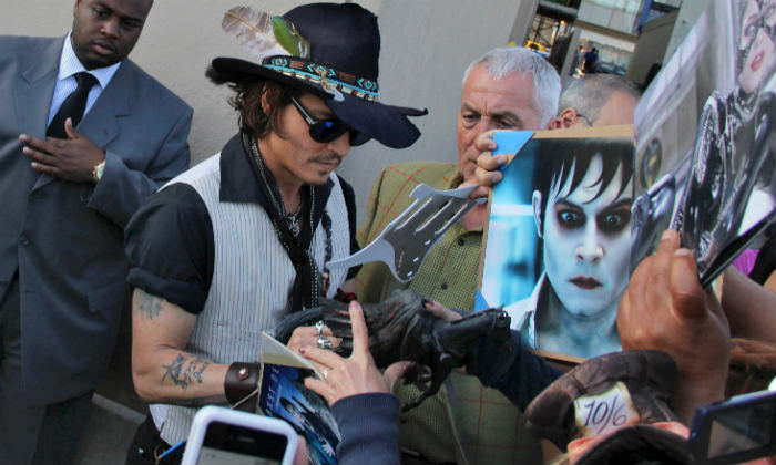 Johnny Depp outside Jimmy Kimmel's studio in 2012