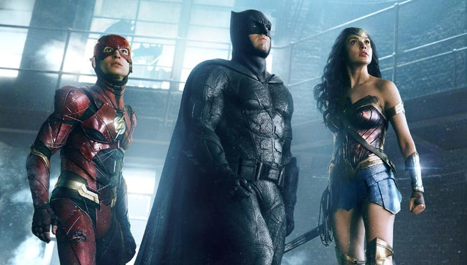 Ezra Miller, Ben Affleck and Gal Gadot as Flash, Batman and Wonder Woman in 'Justice League'