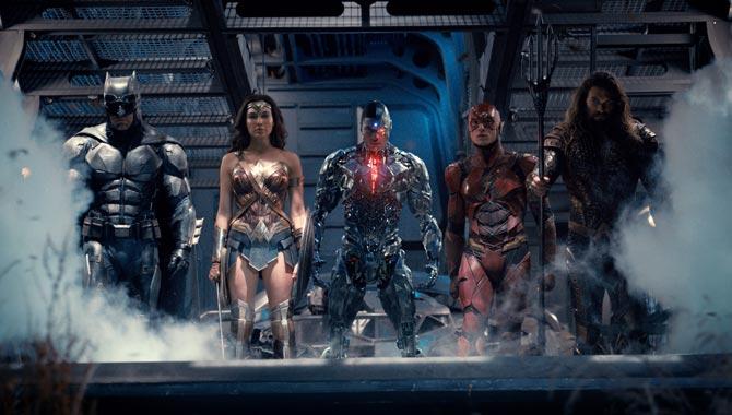Justice League stars Ben Affleck, Gal Gadot, Ray Fisher, Ezra Miller and Jason Momoa
