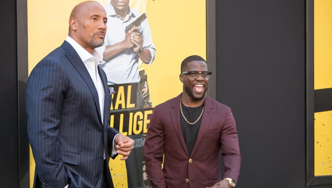 The Rock and Kevin Hart at the Central Intelligence premiere