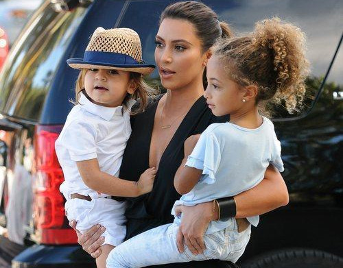 Kim Kardashian with Mason Disick and Sophia Pippen at the Children's Museum in Miami, Florida