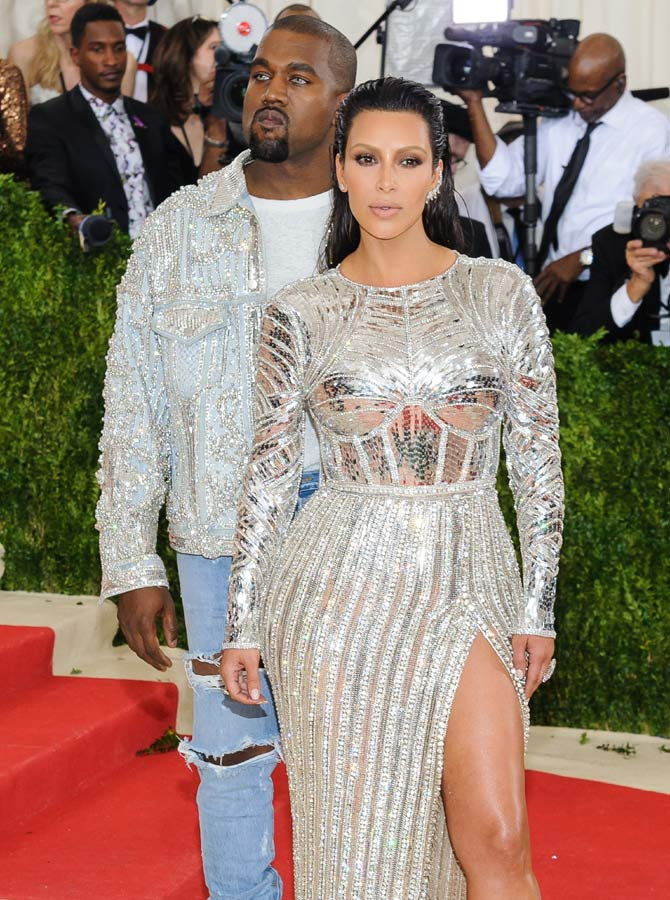 Kim with her husband Kanye at the Costume Institute Gala